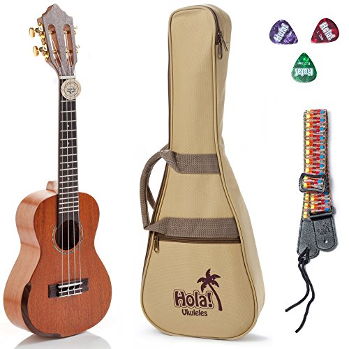Tenor Ukulele Professional Series by Hola! Music (Model HM-427SMM+), Bundle Includes: 27 Inch SOLID Mahogany Top Ukulele with Aquila Nylgut Strings Installed, Padded Gig Bag, Strap and Picks by Hola! Music