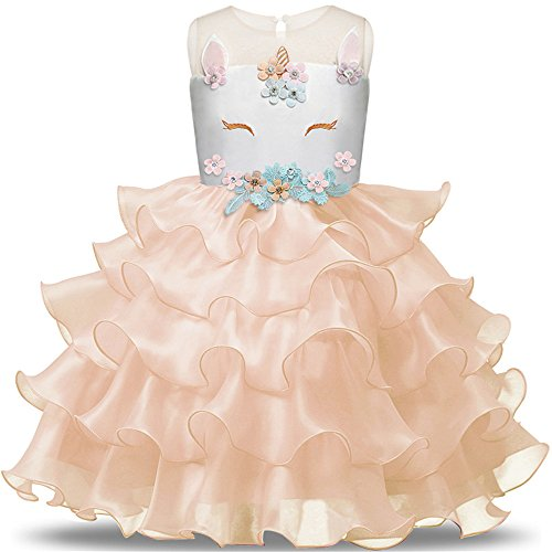 Toddler Flower Girl Unicorn Costume Dress Ruffles Party Wedding Princess Dress]()