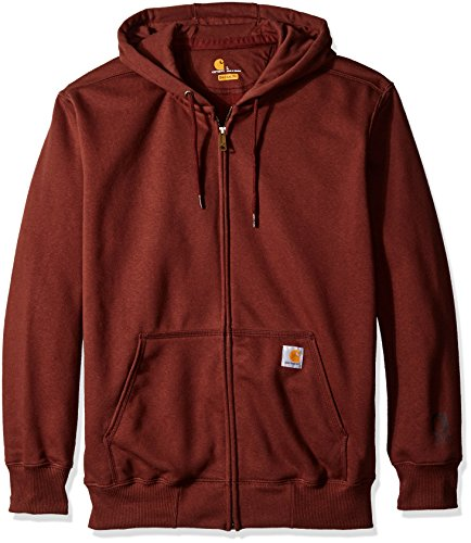 Carhartt Men's Rain Defender Paxton Heavy Weight Hooded Zip Front Sweatshirt, Dark Cedar, - 25% Sweatshirt Polyester