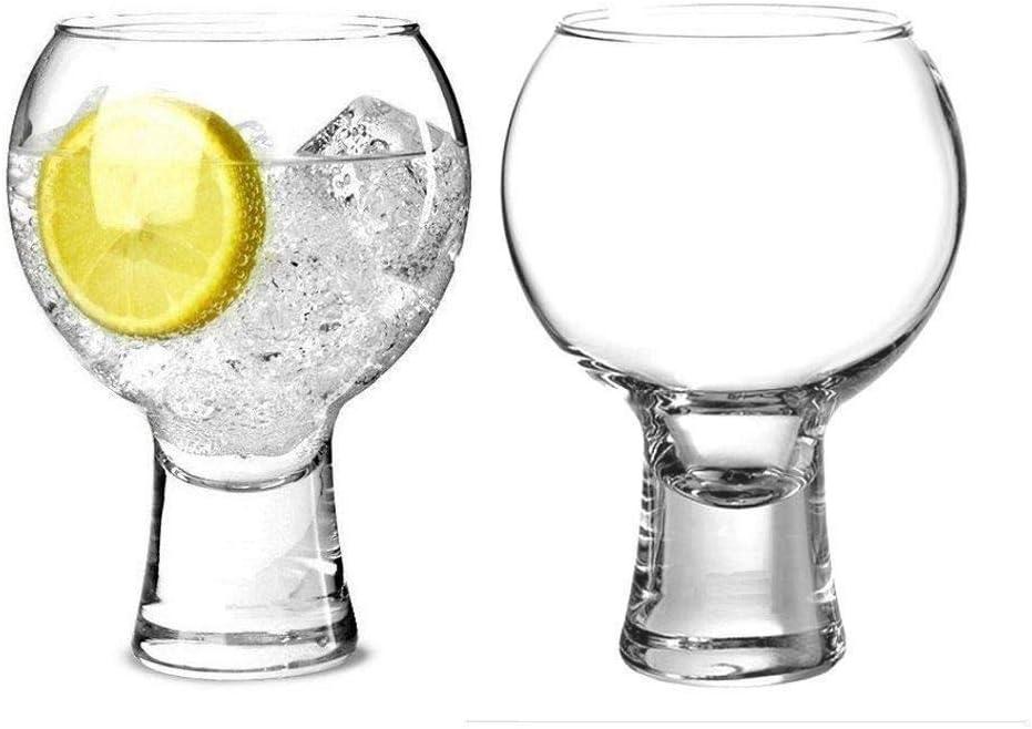 vasos de tallo corto tallo s/ólido con cuenco en forma de bola Juego de 2 vasos de ginebra de Copa Espa/ñola 540 ml Muldale
