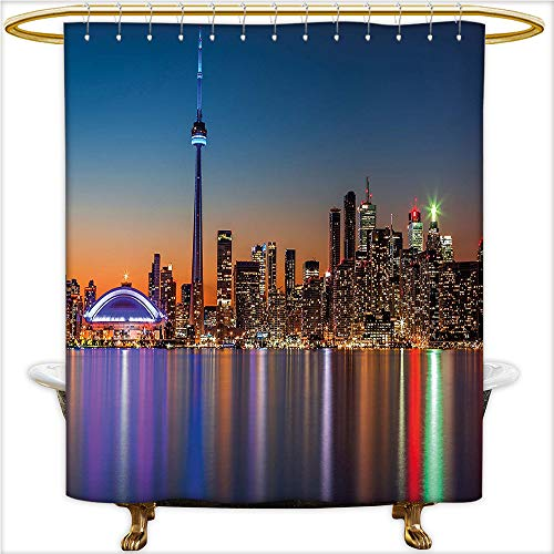 Pearl Toronto Blue (Qinyan-Home Shower Curtain Urban Theme A Cityscape View of Toronto and The Skyscrapers at Dusk Digital Print for Dark Blue. Mildew Resistant Waterproof with 12 Hooks.W36 x H72 Inch)
