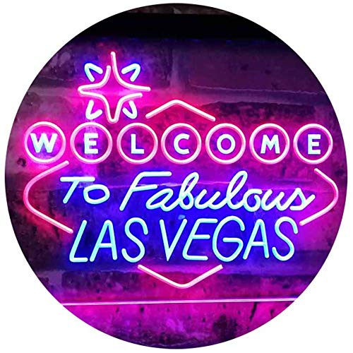 ADVPRO Welcome to Las Vegas Casino Beer Bar Display Dual Color LED Neon Sign Blue & Red 16 x 12 Inches st6s43-i3078-br