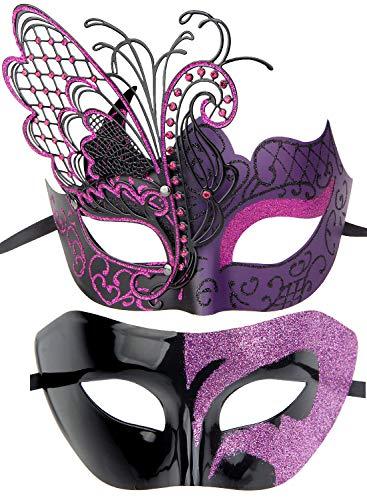 IETANG Couples Pair Half Venetian Masquerade Ball Mask