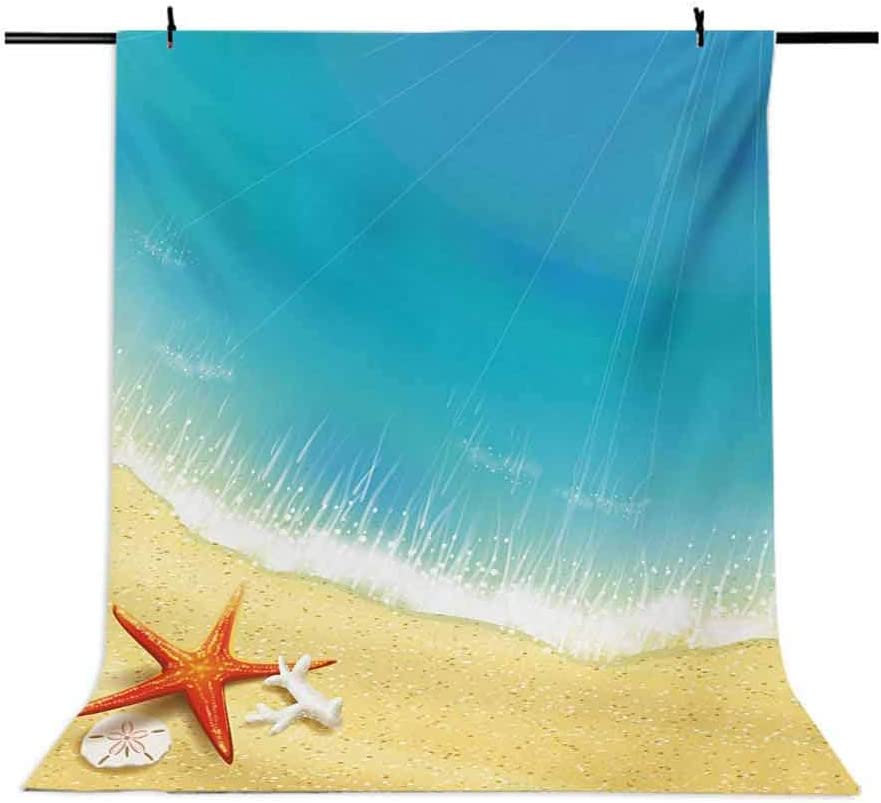Starfish 10x15 FT Backdrop Photographers,Seashore View Waves on Sandy Beach Caribbean Paradise Summer Season Illustration Background for Child Baby Shower Photo Vinyl Studio Prop Photobooth Photoshoot