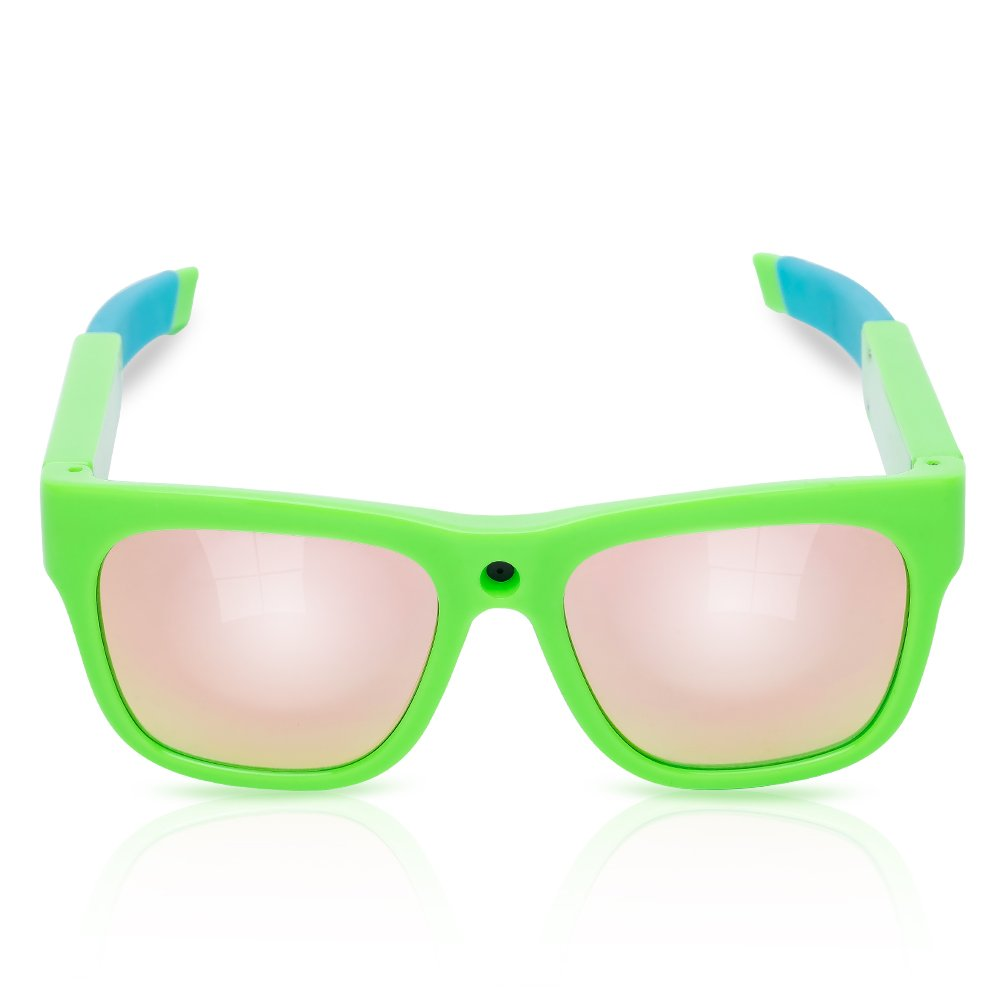 Kids Video Sunglasses for Children Gifts for Kids 1080P HD Rechargeable Camera Smart Glasses Video Recording Beach Sport Camping Outdoor Indoor Learning Travel glasses Age 5-12(green)