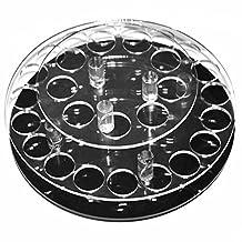 Elisona-Round Shape Clear Acrylic Rotatable 28-hole Lipstick Lip Gloss Nail Polish Cosmetics Organizer Display Holder Rack Stand