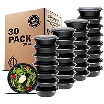 Freshware Meal Prep Containers [30 Pack] Bowls with Lids, Food Storage Bento Box | BPA Free | Stackable | Lunch Boxes, Microwave/Dishwasher/Freezer Safe, Portion Control, 21 day fix (28 oz)