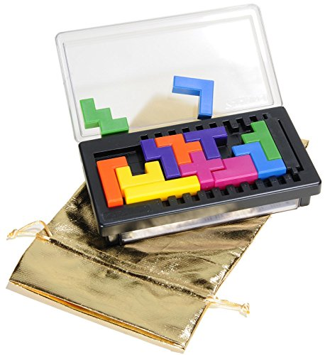 Katamino Compact (Travel Size) Multi-Challenge Brain Teaser Puzzle _ Bonus Gold Metallic Color Cloth Drawstring Storage Pouch _ Bundled Items (Puzzle Teaser Pentominoes Brain)