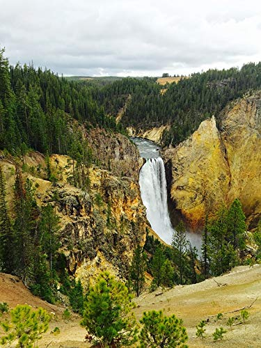 Home Comforts Canvas Print Canyon Yellowstone Waterfall Vivid Imagery Stretched Canvas 10 x 14