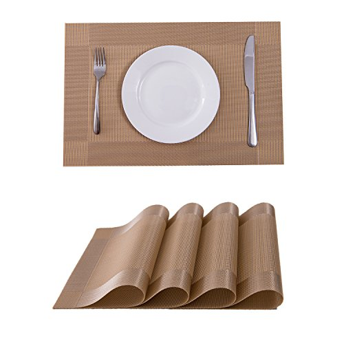 Dining Table Wash Wood (Set of 4 Placemats,Placemats for Dining Table,Heat-resistant Placemats, Stain Resistant Washable PVC Table Mats,Kitchen Table mats(Gold))