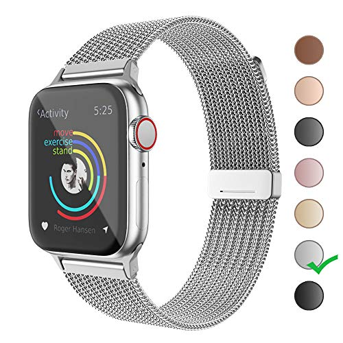 Cocos Compatible with Apple Watch Band 38mm 40mm 42mm 44mm,Stainless Steel Mesh Loop for iWatch Bands Women Men Series 5 4 3 2 1