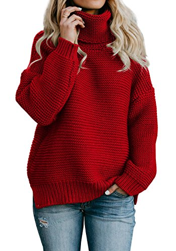 Yacooh Womens Pullover Sweaters Turtleneck Oversized Rib Knitted Long Sleeve Warm Sweater -