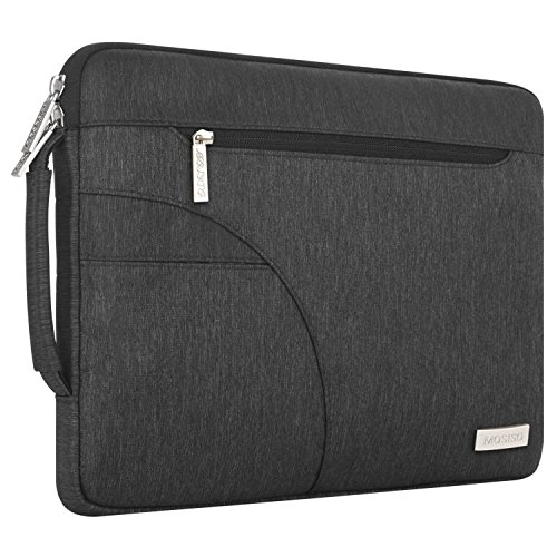 MOSISO Laptop Shoulder Bag Compatible 15-15.6 Inch MacBook Pro, Ultrabook Netbook Tablet, Polyester Ultraportable Protective Briefcase Carrying Handbag Sleeve Case Cover, Black by MOSISO (Image #4)