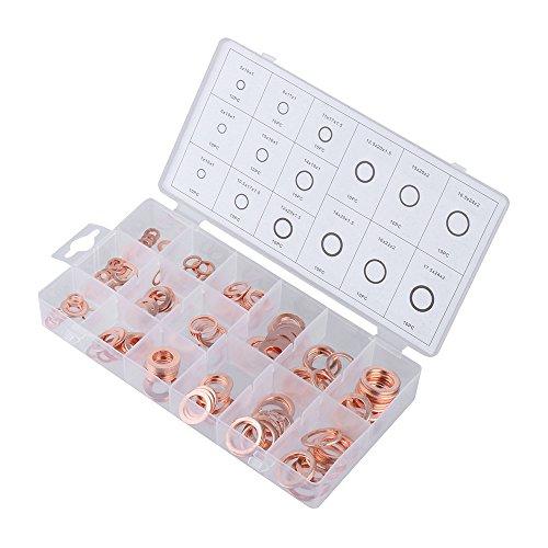 Yeefant 150 PCS Oil Drain Plug Copper Sealing O Ring Washer Assortment Car Garage (Sealing Pan Lid)