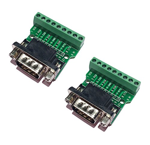 Sysly DB9 RS232 D SUB Male Adapter to 9 Position Terminal Breakout Board 2Pcs