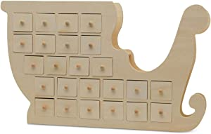 Wooden Advent Calendar Empty DIY-Pre Assembled Empty Drawers Refillable Unfinished 20 x 12 Inch, by Woodpeckers