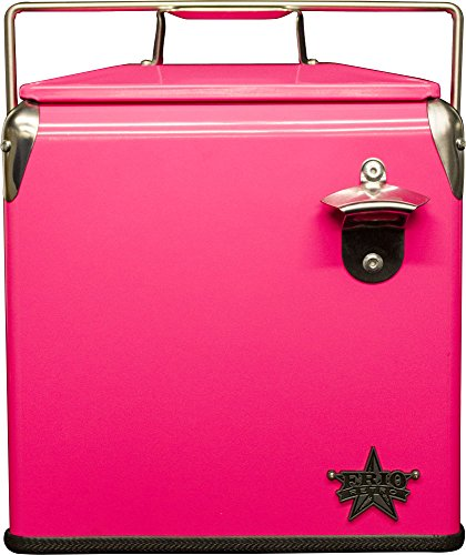 Frio Ice Chests Retro Cooler, Stainless Steel with Powder Coat, Neon Pink by Frio Ice Chests