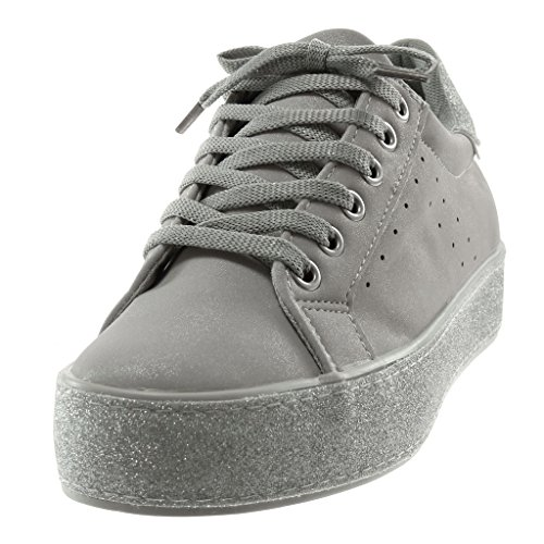 Femme Angkorly Brillant Paillettes Chic Gris Plat 3 Baskets Sporty Cm Perforée Mode Talon Tennis Chaussure Plateforme 5 rRvSrq0