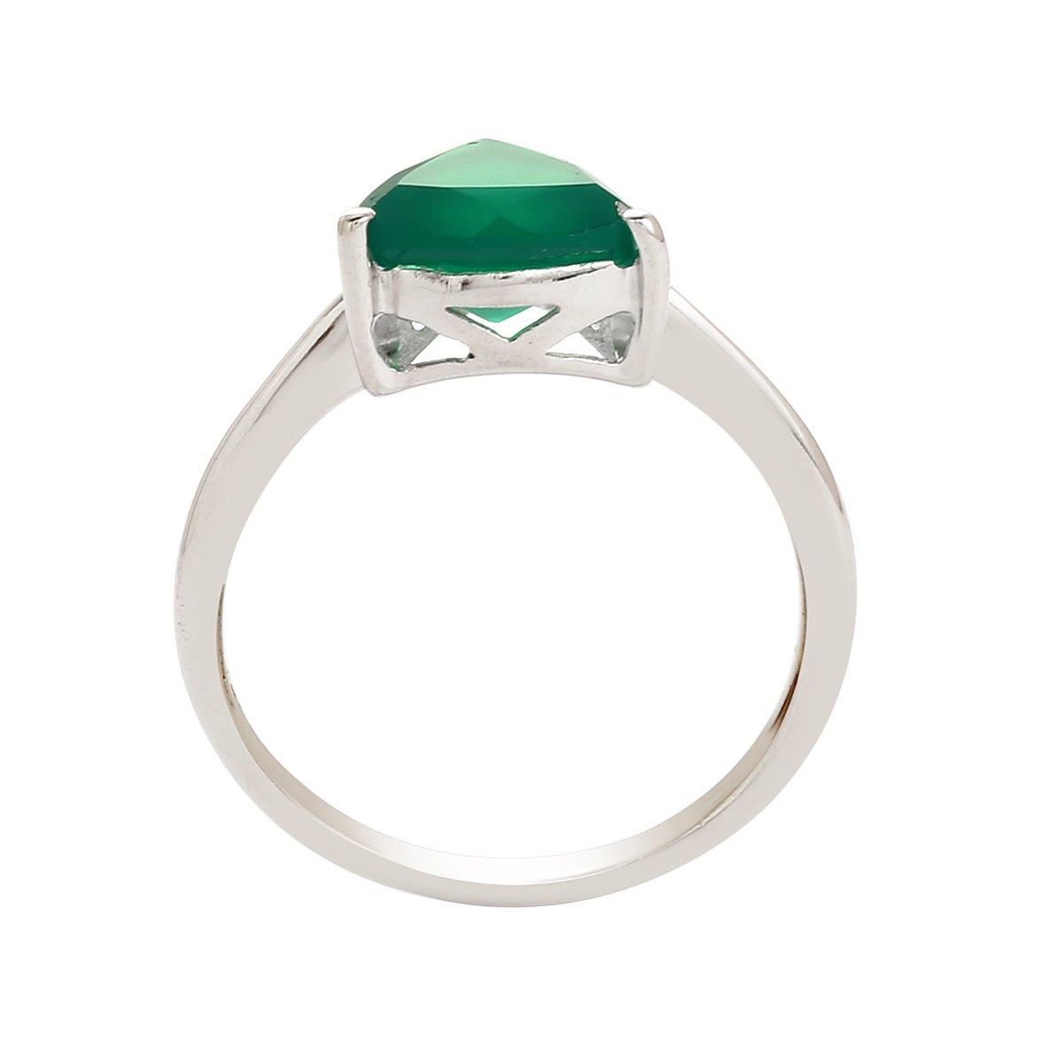 Green Onyx Shining Gemstone 925 Sterling Silver Wedding Ring Jewelry