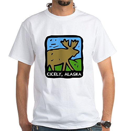 (CafePress Cicely Alaska Moose White T-Shirt 100% Cotton T-Shirt, White)