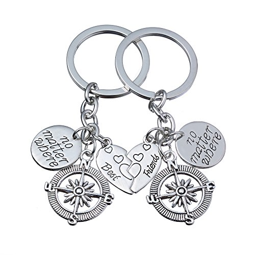 lauhonmin 2pcs BBF Best Friends Key Chain Ring Set No Matter...