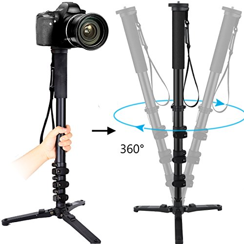 Noeler Monopod,65 Inch Camera Monopod With Folding Three Feet Support Stand,Travel Portable Tripod Monopod For Camcorder/DSLR Video
