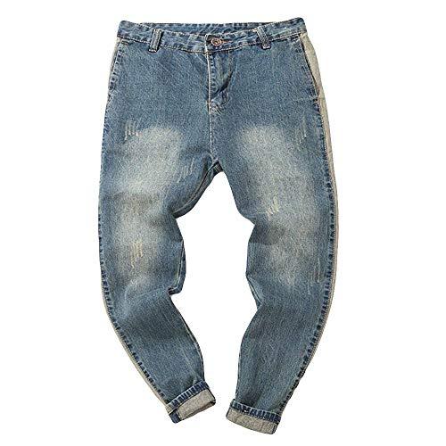 BaZhaHei-Pantalones de hombre, Pantalones Vaqueros Talla Grande para Hombre Casual Pantalón de Hombre Pantalones Vaqueros de algodón de Mezclilla otoñal Vintage Wash Hip Hop Work Pantalones Azul