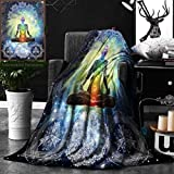 Unique Custom Double Sides Print Flannel Blankets Indian Decor Mandala Yoga Zen Wall Meditation Batik Hippie Om Sign Blacklight Reactive Super Soft Blanketry for Bed Couch, Twin Size 60 x 80 Inches