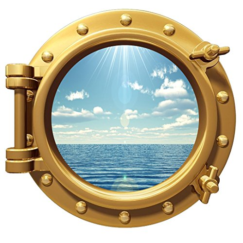 Ocean View Wall Sticker Porthole Nature Sea View Window Decal Peel and Stick Mural (Porthole Mural)