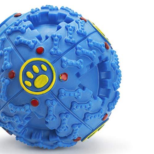 IBO Pelota de Masticar con Dispensador de Comida para Perros Juguete Bola Interactivo, Suave y No Toxico (Grande, Azul)