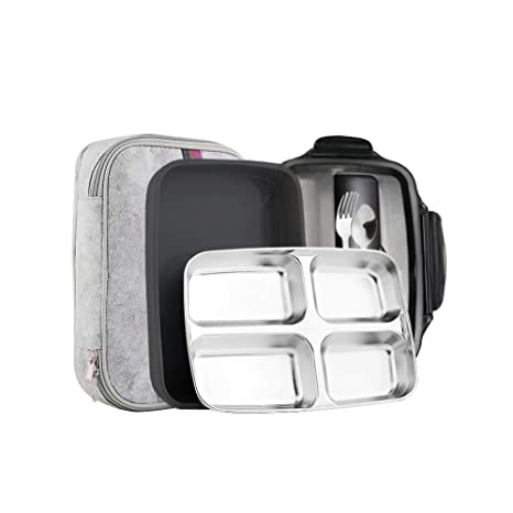 4235e327bb42 Slim Stainless Steel Square Lunch Box Set Insulated Leak Proof Lunch Box  for Adults and Kids Non-toxic Tasteless With Insulated Bag And Cutlery ...