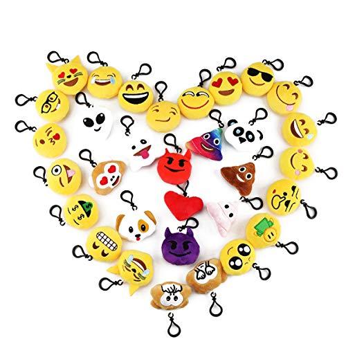 32 Pack 2 Cute Emoji Plush Keychain Mini Pillows Handbag Purse Face Emotion Car Key Ring Pendant Decorations Kids Party Favors