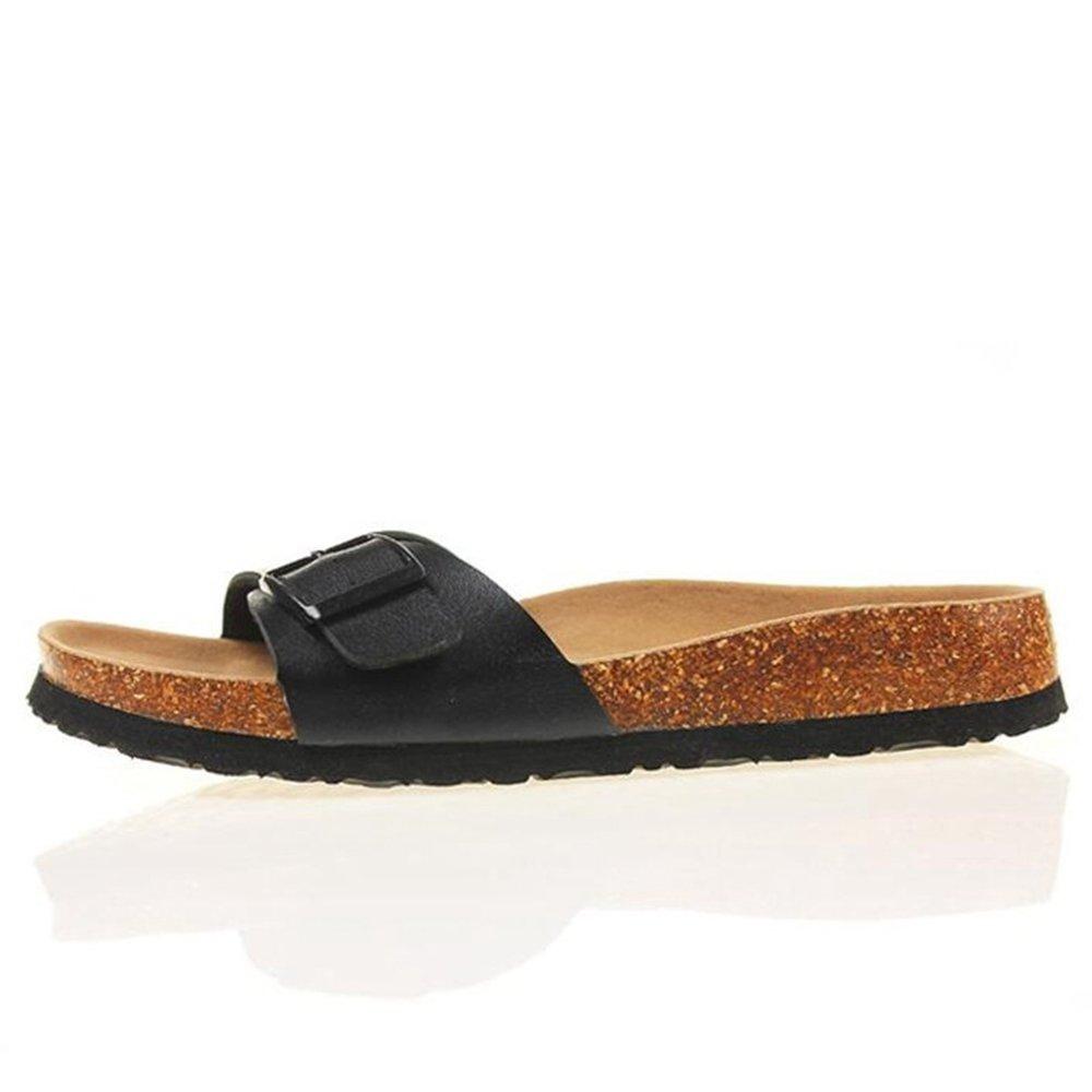 YaMiFan Women's Slide Flat Sandals with Adjustable Open Strap Buckle Open Adjustable Toe Slippers B07FJV5Q4F 12 4 51d33d