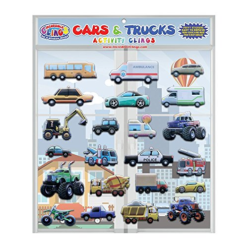 Cars & Trucks (Police and Race Cars, Monster, Tow and Fire Trucks, and More) Reusable Window and Wall Cling Puffy Car Stickers for Kids and Toddlers by Incredible Gel and (Truck Decal Sheet)