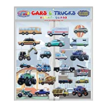 Cars & Trucks (Police and Race Cars, Monster, Tow and Fire Trucks, and More) Reusable Window and Wall Cling Puffy Car Stickers for Kids and Toddlers by Incredible Gel and Window Clings