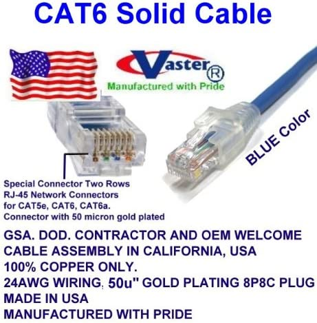 50u Gold Plating 23Awg - UL CSA CMR and 100/% Copper 55 Ft Cat.6 Gigabit Patch Cable Cat6 High Performance Cat6 Patch Cable Blue Made in USA