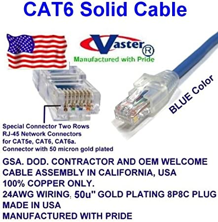 50u Gold Plating Blue 120 Ft Cat.6 Gigabit Patch Cable Made in USA - UL CSA CMR and 100/% Copper Cat6 High Performance Cat6 Patch Cable 23Awg