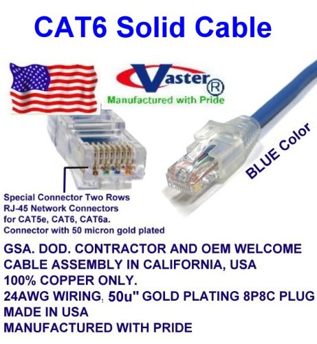 Super E cable SKU-81970 - Made in USA – BLUE – 100 FT - UTP Cat.6 Ethernet Patch Cable - UL CMR 23AWG by Vaster