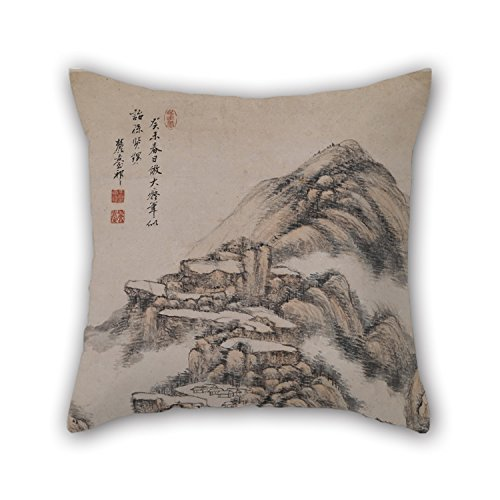 Price comparison product image Pillow Cases Of Oil Painting Wang Yuanqi - Landscape After The Style Of Huang Gongwang 16 X 16 Inches / 40 By 40 Cm, best Fit For Bar Seat, valentine, floor, chair, car Seat, floor Twice Sides
