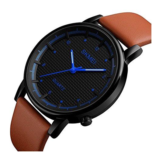 Men Quartz Watch Minimalist Waterproof Sport Watches Leather Strap Luxury Brand Fashion Wristwatches (Brown Black Blue)