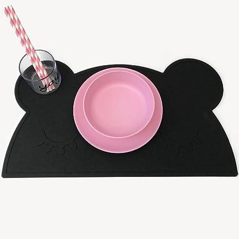 Niños silicona oso moldeada Sets de mesa antideslizante Baby Infant Plato mesa Matte portátil