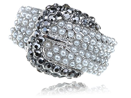 table Stretchy Silvery Tone Faux Pearl Belt Buckle Ring ()