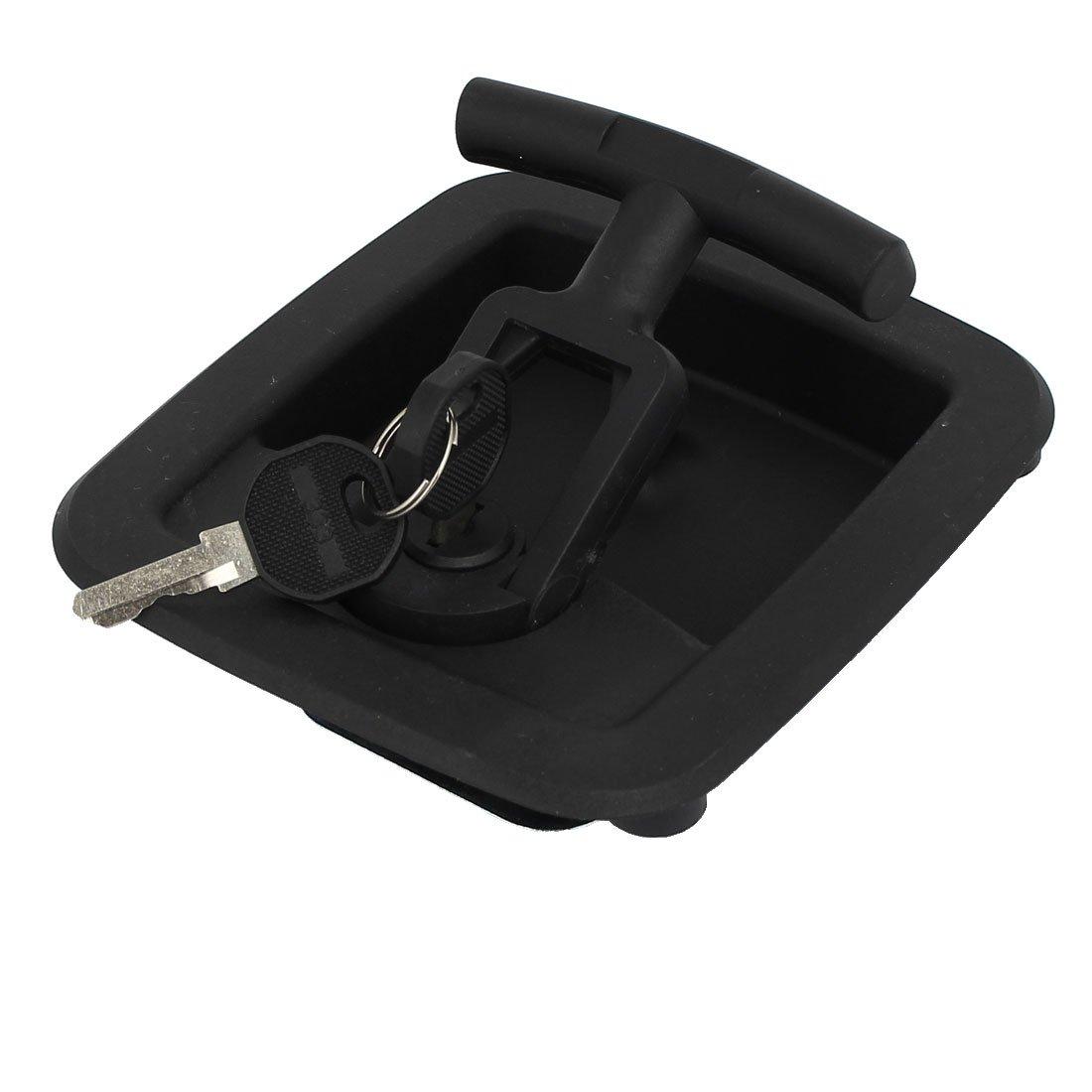 uxcell Door Toolbox Plastic Folding T-handle Security Latch Lock Locker Black w 2 Keys by uxcell (Image #2)