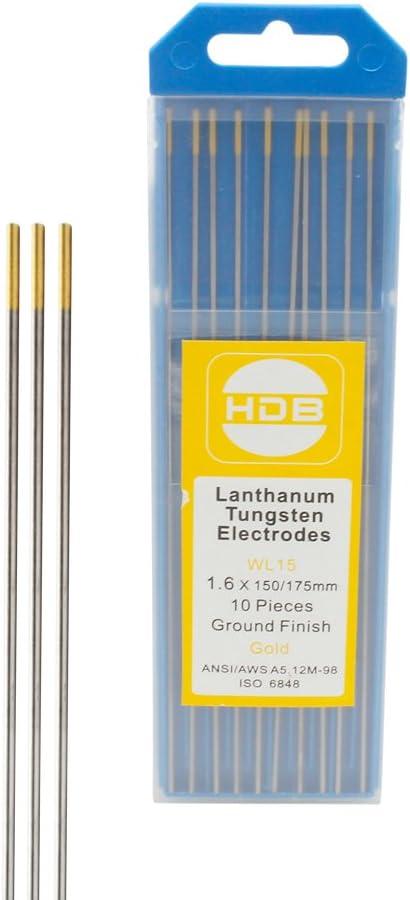 Tungsten electrodes Tungsten spikes WL-15 Tungsten Electrode Needle /Ø1.6 x 175mm Gold 10PK