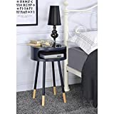 Major-Q Wooden Round End Table with Open Drawer for Living Room/Bedroom / Entryway/Hallway, Black 22 x 16 x 16