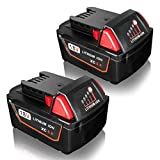 FLAGPOWER 2-Pack 18V 5.0Ah Battery with LED Indicator for Milwaukee for M18 XC 48-11-1815 48-11-1820 48-11-1850 Cordless Power Tool