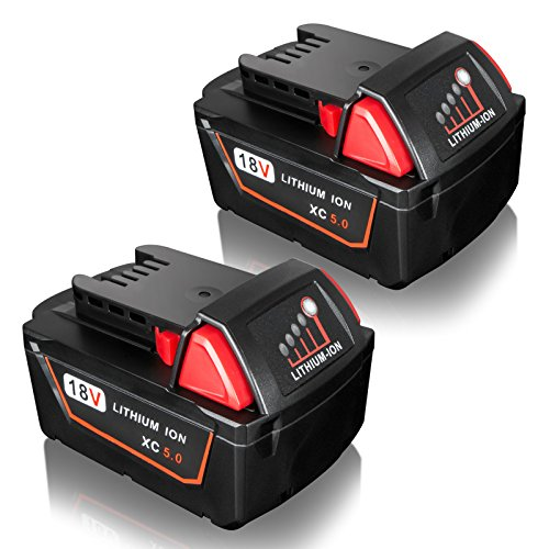FLAGPOWER 2-Pack 18V 5.0Ah Battery with LED Indicator for Milwaukee for M18 XC 48-11-1815 48-11-1820 48-11-1850 Cordless Power Tool by FLAGPOWER