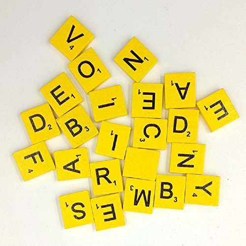 200pcs English Wood Letters A-Z Kids Learning Cognition Education Toy Games Scrabble Tiles Wood Craft Letters Word Tiles Wooden Letters Replacement Tiles Square letter For Scrapbooking (Yellow)
