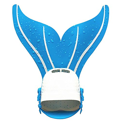 Freestyle Tail - Cideros Monofin Mermaid tail Flipper Soft Silicone Diving Snorkel Fin Freestyle Butterfly Backstroke Dolphin kick Swimming Professional Training Equipment for Children - Blue and White