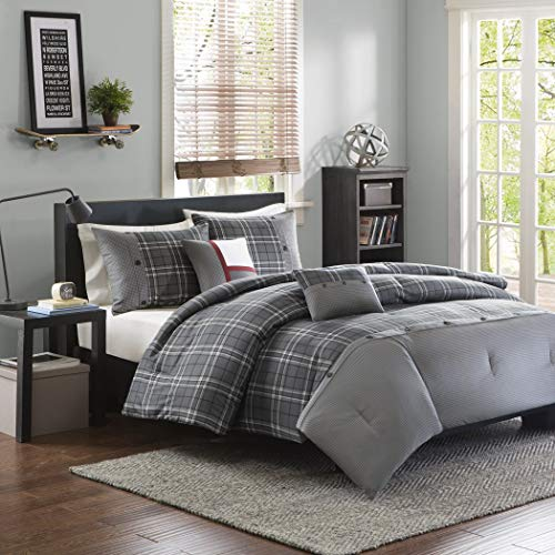 D&H 4 Piece Boys Grey Tartan Plaid Theme Comforter Twin/Twin XL Set, Beautiful Madras Checkered Pattern, Lodge Cabin Hunting Themed, Classic Country Style, Printed Reversible Bedding, Vibrant Colors (4 Piece Hunting Set)